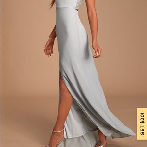 Lulu's Light Grey Formal Dress